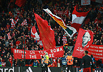 Liverpool fans with flags on the Kop during the Champions League Semi Final 1st Leg match at Anfield Stadium, Liverpool. Picture date: 24th April 2018. Picture credit should read: Simon Bellis/Sportimage