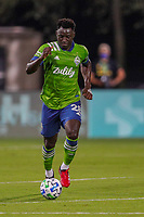 10th July 2020, Orlando, Florida, USA;  Seattle Sounders defender Yeimar Gomez (28) controls the ball during the soccer match between the Seattle Sounders and the San Jose Earthquakes on July 10, 2020, at ESPN Wide World of Sports Complex in Orlando, FL.