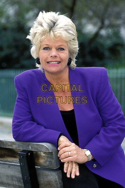 JUDITH CHALMERS..Ref: 026..half length, half-length, purple jacket, purple blazer..sales@capitalpictures.com..www.capitalpictures.com..© Capital Pictures