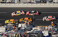 Oct 5, 2008; Talladega, AL, USA; NASCAR Sprint Cup Series driver Greg Biffle (16) gets spun by teammate Carl Edwards (99) setting off a multi-car accident during the Amp Energy 500 at the Talladega Superspeedway. Mandatory Credit: Mark J. Rebilas-
