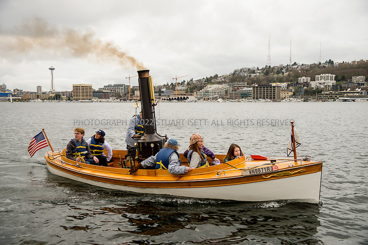 2/6/2016 &mdash; Lake Union, Seattle, WA<br /> <br /> &ldquo;Puffin&rdquo;, a little steam launch built in 1906, is one of the most popular boats at the Center for Wooden Boats on Seattle&rsquo;s Lake Union and is maintained almost exclusively by volunteers. It has taken thousands of visitors on free Sunday tours of Lake Union since the mid 1990s.<br /> <br /> Puffin is a picky boat when it comes to burning wood. To get the most fire power, volunteers feed the boiler with fine hardwoods donated by Dusty Springs, a local manufacturer of harps and violins.<br /> <br /> Photograph by Stuart Isett<br /> &copy;2015 Stuart Isett. All rights reserved.