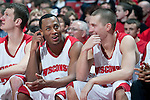 March 3, 2010: Wisconsin Badgers seniors Trevon Hughes (3), left, and Jason Bohannon share a moment after playing their final game at the Kohl Center during a Big Ten Conference NCAA basketball game against the Iowa Hawkeyes on March 3, 2010 in Madison, Wisconsin. The Badgers won 67-40. (Photo by David Stluka)
