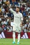 Real Madrid's Sergio Ramos during the XXXVII Bernabeu trophy between Real Madrid and Stade de Reims at the Santiago Bernabeu Stadium. August 15, 2016. (ALTERPHOTOS/Rodrigo Jimenez)