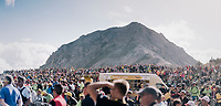 although the Col d'Izoard (HC/2360m/14.1km/7.3%) was very difficult to get to, the finish/top itself was swamped with fans <br /> <br /> 104th Tour de France 2017<br /> Stage 18 - Briancon › Izoard (178km)