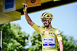 Race leader Yellow Jersey Julian Alaphilippe (FRA) Deceuninck-Quick Step at sign on before Stage 10 of the 2019 Tour de France running 217.5km from Saint-Flour to Albi, France. 15th July 2019.<br /> Picture: ASO/Pauline Ballet | Cyclefile<br /> All photos usage must carry mandatory copyright credit (© Cyclefile | ASO/Pauline Ballet)