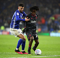 31st January 2020; Cardiff City Stadium, Cardiff, Glamorgan, Wales; English Championship Football, Cardiff City versus Reading; Ovie Ejaria of Reading is challenged by Marlon Pack of Cardiff City
