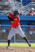 State College Spikes outfielder Adalberto Santos (50) during a game vs. the Batavia Muckdogs at Dwyer Stadium in Batavia, New York August 29, 2010.   Batavia defeated State College 6-4.  Photo By Mike Janes/Four Seam Images