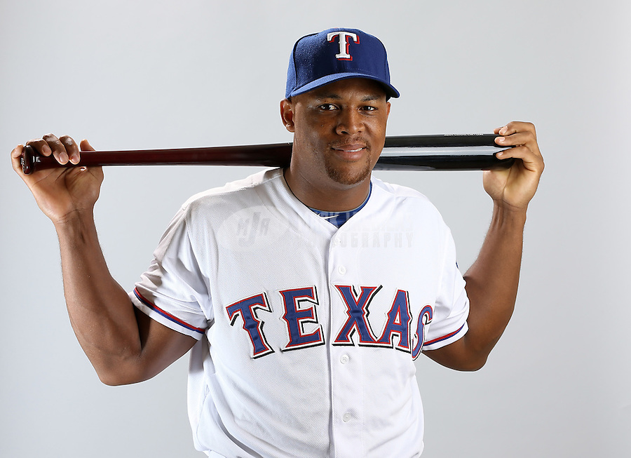 Feb. 20, 2013; Surprise, AZ, USA: Texas Rangers outfielder Adrian Beltre poses for a portrait during photo day at Surprise Stadium. Mandatory Credit: Mark J. Rebilas-