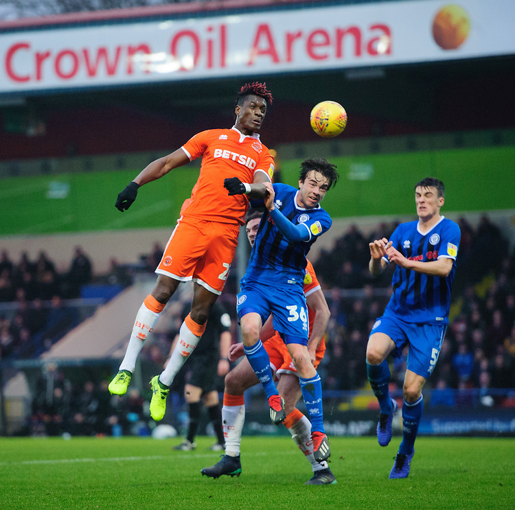 Blackpool's Armand Gnanduillet vies for possession with Rochdale's Matt Gillam<br /> <br /> Photographer Chris Vaughan/CameraSport<br /> <br /> The EFL Sky Bet League One - Rochdale v Blackpool - Wednesday 26th December 2018 - Spotland Stadium - Rochdale<br /> <br /> World Copyright © 2018 CameraSport. All rights reserved. 43 Linden Ave. Countesthorpe. Leicester. England. LE8 5PG - Tel: +44 (0) 116 277 4147 - admin@camerasport.com - www.camerasport.com