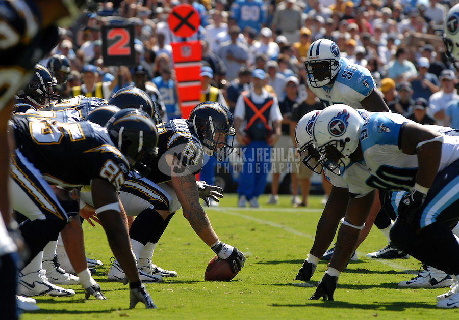 Sept. 17, 2006; San Diego, CA, USA; San Diego Chargers center (61) Nick Hardwick prepares to snap the ball against the Tennessee Titans at Qualcomm Stadium in San Diego, CA. Mandatory Credit: Mark J. Rebilas