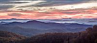 Blue Ridge Mountains from Blue Ridge Parkway, at sunset, North Carolina