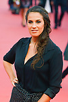 """Elisa Tovati poses on the red carpet before the screening of the film """"The Man from U.N.C.L.E."""" during the 41st Deauville American Film Festival on September 11, 2015 in Deauville, France"""