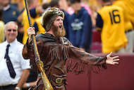Landover, MD - SEPT 24, 2016: West Virginia mascot is pumped following a WVU touchdown during their game against BYU at FedEx Field in Landover, MD. (Photo by Phil Peters/Media Images International)