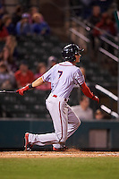 Syracuse Chiefs center fielder Trea Turner (7) at bat during a game against the Rochester Red Wings on July 1, 2016 at Frontier Field in Rochester, New York.  Rochester defeated Syracuse 5-3.  (Mike Janes/Four Seam Images)