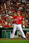28 August 2010: Washington Nationals first baseman Adam Dunn at bat against the St. Louis Cardinals at Nationals Park in Washington, DC. The Nationals defeated the Cards 14-5 to take the third game of their 4-game series. Mandatory Credit: Ed Wolfstein Photo