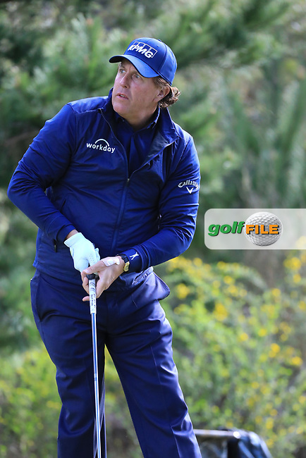 Phil Mickelson (USA) during the first round of the AT&T Pro-Am, Pebble Beach Golf Links, Monterey, California, USA. 07/02/2019<br /> Picture: Golffile | Phil Inglis<br /> <br /> <br /> All photo usage must carry mandatory copyright credit (© Golffile | Phil Inglis)