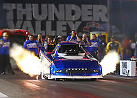 Jun 17, 2016; Bristol, TN, USA; NHRA funny car driver Dave Richards during qualifying for the Thunder Valley Nationals at Bristol Dragway. Mandatory Credit: Mark J. Rebilas-USA TODAY Sports