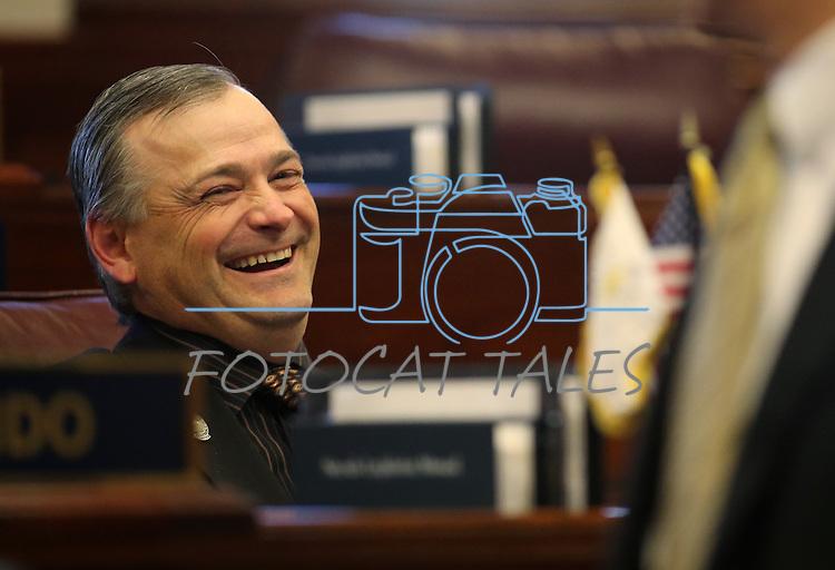 Nevada Sen. James Settelmeyer, R-Minden, jokes with Senate Majority Leader Mo Denis, D-Las Vegas, on the Senate floor at the Legislative Building in Carson City, Nev., on Thursday, Feb. 28, 2013..Photo by Cathleen Allison