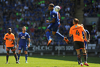 Cardiff City's Kenneth Zohore in action during todays match. <br /> <br /> Photographer Ian Cook/CameraSport<br /> <br /> The EFL Sky Bet Championship - Cardiff City v Reading - Sunday 6th May 2018 - Cardiff City Stadium - Cardiff<br /> <br /> World Copyright &copy; 2018 CameraSport. All rights reserved. 43 Linden Ave. Countesthorpe. Leicester. England. LE8 5PG - Tel: +44 (0) 116 277 4147 - admin@camerasport.com - www.camerasport.com