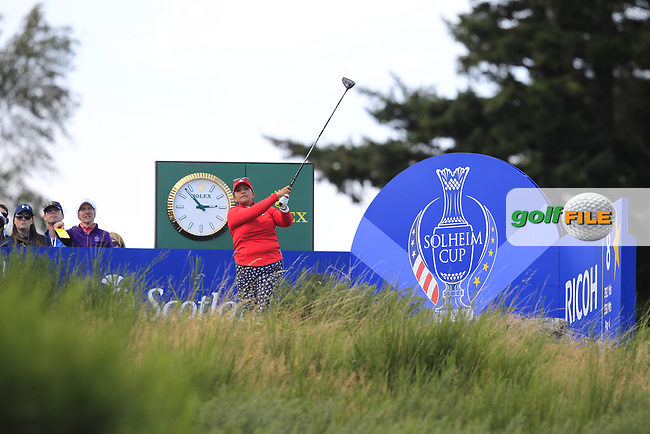 Lizette Salas Team USA on the 8th tee during Day 1 Fourball at the Solheim Cup 2019, Gleneagles Golf CLub, Auchterarder, Perthshire, Scotland. 13/09/2019.<br /> Picture Thos Caffrey / Golffile.ie<br /> <br /> All photo usage must carry mandatory copyright credit (© Golffile   Thos Caffrey)