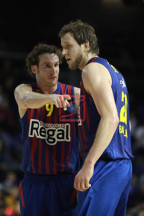 Euroleague Basketball 2012/13 Top 16 Round 6.<br /> FC Barcelona Regal vs Montepaschi Siena: 85-66.<br /> Marcelinho Huertas &amp; Joe Ingles.