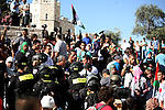 "Palestinian protesters argue with Israeli policemen during a demonstration marking the 66th anniversary of the ""Nakba,"" meaning catastrophe, when many Palestinians fled or were expelled from their towns and villages during the war of Israel's foundation in 1948, at Damascus Gate in Jerusalem's Old City May 15, 2014. An Israeli police spokesman said on Thursday that 5 Palestinian protesters were detained during the unauthorized demonstration in Jerusalem's Old City, where stones were thrown at policemen and an Israeli flag was burnt. Also on Thursday, Israeli forces shot dead two Palestinians during a stone-throwing protest marking the ""Nakba"" in the occupied West Bank. Photo by Saeed Qaq"