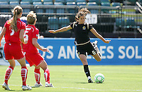 Brandi Chastain kicks the ball. FC Gold Pride defeated Washington Freedom 3-2 at Buck Shaw Stadium in Santa Clara, California on August 1, 2009.