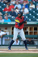 Willi Castro (5) of the Toledo Mud Hens at bat against the Charlotte Knights at BB&T BallPark on April 23, 2019 in Charlotte, North Carolina. The Knights defeated the Mud Hens 11-9 in 10 innings. (Brian Westerholt/Four Seam Images)