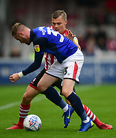 Lincoln City's Harry Anderson vies for possession with Crewe Alexandra's Kevin O'Connor<br /> <br /> Photographer Chris Vaughan/CameraSport<br /> <br /> The EFL Sky Bet League Two - Lincoln City v Crewe Alexandra - Saturday 6th October 2018 - Sincil Bank - Lincoln<br /> <br /> World Copyright &copy; 2018 CameraSport. All rights reserved. 43 Linden Ave. Countesthorpe. Leicester. England. LE8 5PG - Tel: +44 (0) 116 277 4147 - admin@camerasport.com - www.camerasport.com