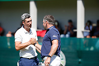 Ross Fisher (ENG) and Lee Westwood (ENG) on the 18th green during the final round of the Nedbank Golf Challenge hosted by Gary Player,  Gary Player country Club, Sun City, Rustenburg, South Africa. 11/11/2018 <br /> Picture: Golffile | Tyrone Winfield<br /> <br /> <br /> All photo usage must carry mandatory copyright credit (&copy; Golffile | Tyrone Winfield)