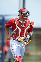 GCL Nationals catcher Chance Shepard (22) jogs to the dugout after warming up the pitcher during a game against the GCL Astros on August 14, 2016 at the Carl Barger Baseball Complex in Viera, Florida.  GCL Nationals defeated GCL Astros 8-6.  (Mike Janes/Four Seam Images)