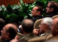 Il Presidente del Consiglio Silvio Berlusconi ed il Ministro dell'Interno Roberto Maroni, a sinistra, durante la cerimonia di inaugurazione dell'anno accademico della Scuola Ufficiali Carabinieri a Roma, 18 febbraio 2010..Italian Premier Silvio Berlusconi and Interior Minister Roberto Maroni, right, during the inauguration of the Academic Year of the Carabinieri Offficers Academy in Rome, 18 february 2010..UPDATE IMAGES PRESS/Riccardo De Luca