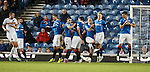 Rangers wall stands strong at a free-kick