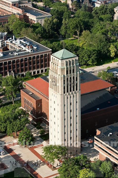 6/7/10 Aerials of Central Campus: Burton Memorial Tower.