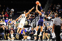 Wednesday, January 4, 2016: Providence Friars guard Jalen Lindsey (21) tries to block a shot from Georgetown Hoyas guard Rodney Pryor (23) during the NCAA basketball game between the Georgetown Hoyas and the Providence Friars held at the Dunkin Donuts Center, in Providence, Rhode Island. Providence defeats Georgetown 76-70 in regulation time. Eric Canha/CSM