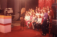 D.B.'s Delight Producer Debi Pittman (Wilkey) welcomes six grade audience before taping of the show in studio at KMOX-TV, Channel 4, CBS, Inc., (currently KMOV-TV), St. Louis, Missouri.