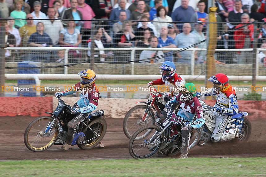 Heat 7: Jonas Davidsson (yellow), Matej Zagar(red), Kauko Nieminen (green) and Krzysztof Stojanowski - Swindon Robins vs Lakeside Hammers - Sky Sports Elite League Speedway at Abbey Stadium - 28/05/09 - MANDATORY CREDIT: Gavin Ellis/TGSPHOTO - Self billing applies where appropriate - 0845 094 6026 - contact@tgsphoto.co.uk - NO UNPAID USE.