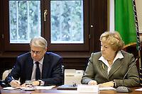Milano: il Ministro Annamaria Cancellieri arriva in prefettura a Milano per la firma protocollo legalità per gli appalti EXPO..Nella foto con il sindaco di Milano Giuliano Pisapia