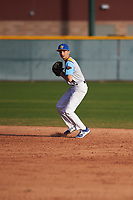 Manuel Zuniga (3) of South East High School in Norwalk, California during the Baseball Factory All-America Pre-Season Tournament, powered by Under Armour, on January 14, 2018 at Sloan Park Complex in Mesa, Arizona.  (Zachary Lucy/Four Seam Images)