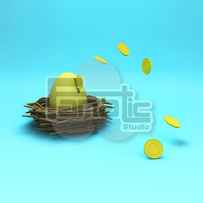 Illustrative image of egg in nest with coins representing investment