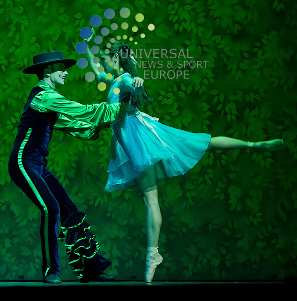 Adam Blyde as the Caterpillar, and Sophie Martin as Alice. Scottish Ballet perform their new production of Alice, based on Alice in Wonderland, at The Theatre Royal, Glasgow on 11 April 2011, Picture: Al Goold/Universal News and Sport (Europe) 2011.