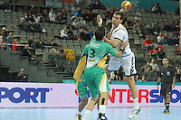 18.01.2013 Barcelona, Spain. IHF men's world championship, prelimanary round. Picture show    in action during game between Montenegro vs Brazil at Palau St Jordi