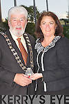 Grace O'Donnell outgoing Mayor of Tralee hands over her chain of office to the incoming Lord Mayor of Tralee Johnny Wall on Monday evening at the UDC Council Chambers........