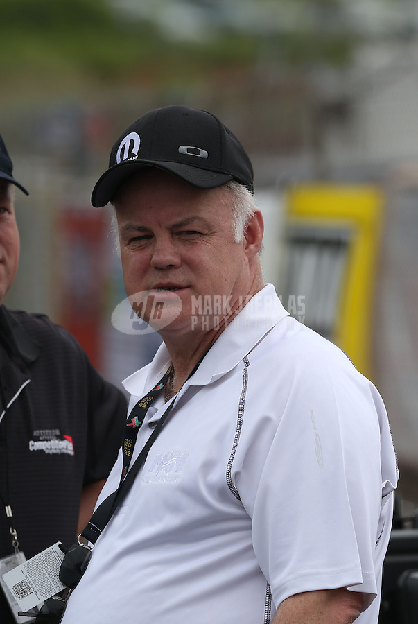 May 11, 2013; Commerce, GA, USA: David Hagan , father of NHRA funny car driver Matt Hagan (not pictured) during the Southern Nationals at Atlanta Dragway. Mandatory Credit: Mark J. Rebilas-