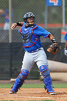 New York Mets catcher Xorge Carrillo #75 during a minor league spring training intrasquad game at the Port St. Lucie Training Complex on March 27, 2012 in Port St. Lucie, Florida.  (Mike Janes/Four Seam Images)