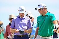 Russell Knox (SCO), Ryan Fox (NZL) on the 3rd tee during the 1st round of the 2017 Portugal Masters, Dom Pedro Victoria Golf Course, Vilamoura, Portugal. 21/09/2017<br /> Picture: Fran Caffrey / Golffile<br /> <br /> All photo usage must carry mandatory copyright credit (&copy; Golffile | Fran Caffrey)