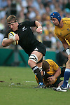Brad Thorn of the All Blacks makes a break during the match of DHL Hong Kong Bledisloe Cup between New Zealand All Blacks and Australia Wallabies at Hong Kong Stadium on October 30, 2010 in Hong Kong, China.
