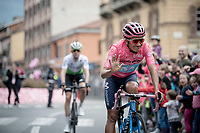 Richard Carapaz (ECU/Movistar) in the Maglia Rosa / overall leader at the race start in Ivrea<br /> <br /> Stage 15: Ivrea to Como (232km)<br /> 102nd Giro d'Italia 2019<br /> <br /> ©kramon