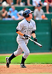 18 July 2010: Staten Island Yankees infielder Casey Stevenson in action against the Vermont Lake Monsters at Centennial Field in Burlington, Vermont. The Lake Monsters fell to the Yankees 9-5 in NY Penn League action. Mandatory Credit: Ed Wolfstein Photo