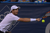 Washington, DC - August 5, 2015: Number 1 seed Andy Murray takes a backhand shot in a match against Teymuraz Gabashvii of Russia during the Citi Open tennis tournament at the FitzGerald Tennis Center in the District of Columbia August 5, 2015.  (Photo by Don Baxter/Media Images International)